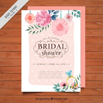 Floral bridal shower invitation painted with watercolorr