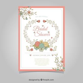 Floral bridal shower invitation in retro style