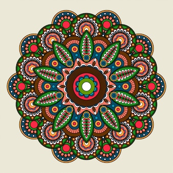 Floral bright colored mandala illustration