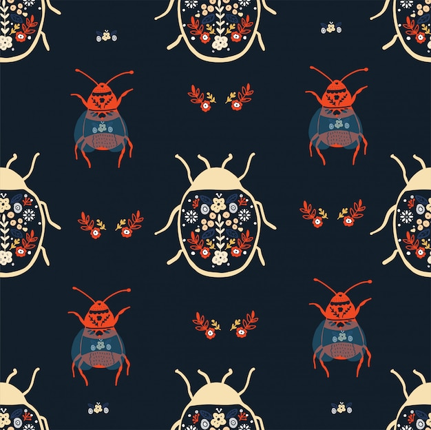 Floral bugs seamless pattern