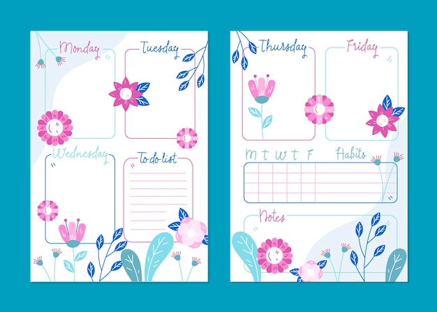 Modello di planner floreale bullet journal