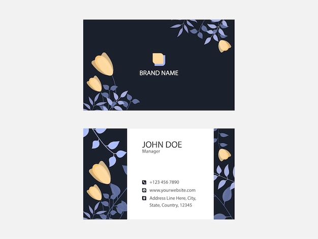 Floral business card design in front and back view.