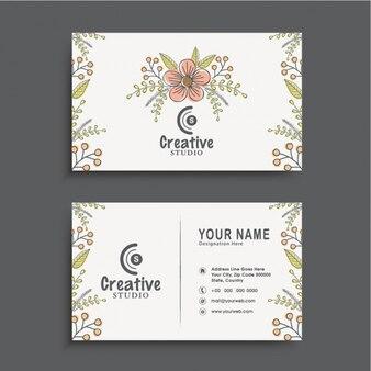 Цветочные визитные карточки в плоской конструкции