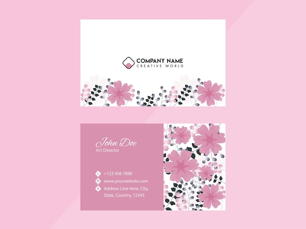 Floral business card template design in pink and white color.