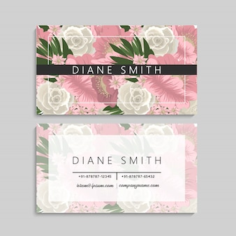 Floral business card template design on white background