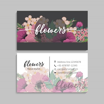 Floral business card template design