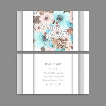 Floral business card template design.