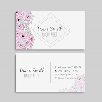 Floral business card template design.
