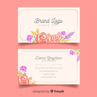 Floral business card template in floral style