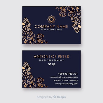 Цветочный шаблон визитной карточки в золотом стиле