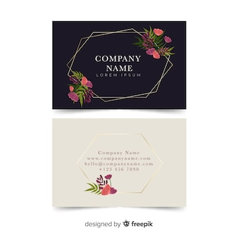 Floral business card template with golden lines