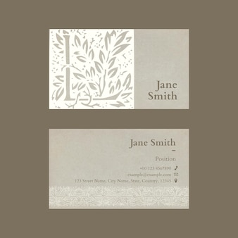 Floral business card template with paper texture design
