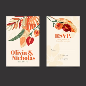 Floral business card in vertical format