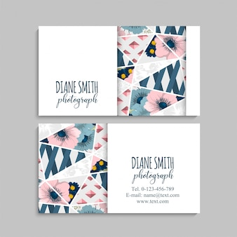Floral business card with geometric elements