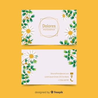 Floral business card with golden accents template