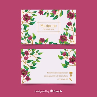 Floral business card with golden lines template