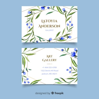 Floral business card with golden lines