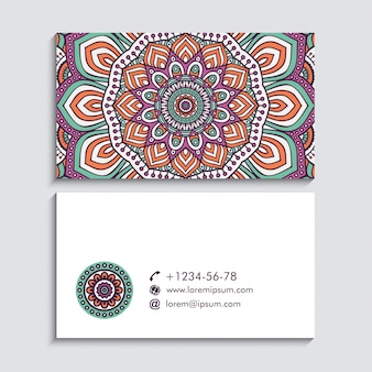 Floral business card with mandala concept