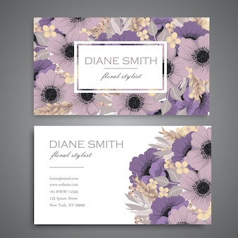 Floral business cards purple flowers