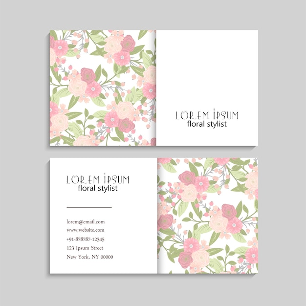 Floral business cards set
