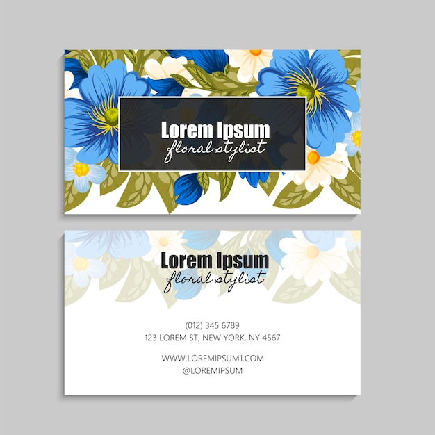 Floral business cards set.
