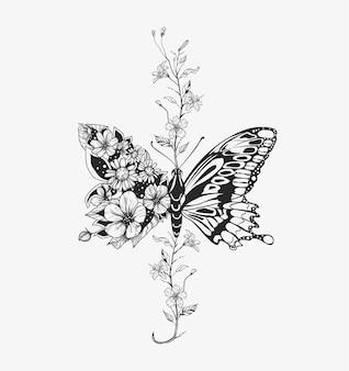 꽃 나비. 꽃 조성. 삽화.