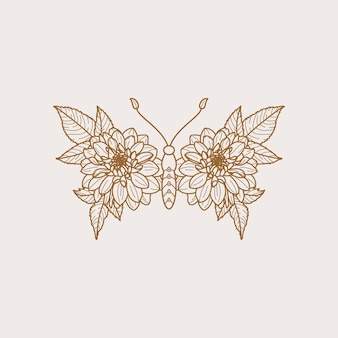 Floral butterfly icon in a linear minimalist trendy style. vector outline emblem of wings with flowers for creating logos of beauty salons, manicures, massages, spas, jewelry, tattoos, and handmade.