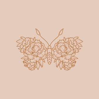 Floral butterfly icon in a linear minimalist trendy style. vector outline emblem of wings with flowers for creating logos of beauty salons, massages, spas and t-shirt print, posters