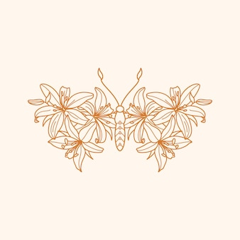 Floral butterfly icon in a linear minimalist trendy style. vector outline emblem of wings with lily flowers for creating logos of beauty salons, massages, spa, jewelry, tattoos, t-shirt print, posters
