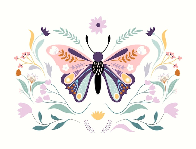 꽃 나비 흰색 절연