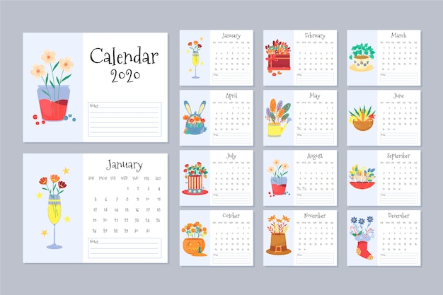 Floral calendar 2020 template set