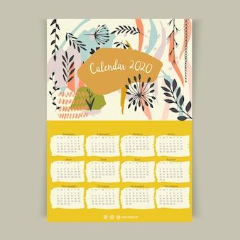 Floral calendar 2020 template
