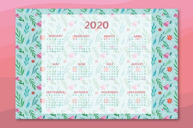 Цветочный шаблон календаря