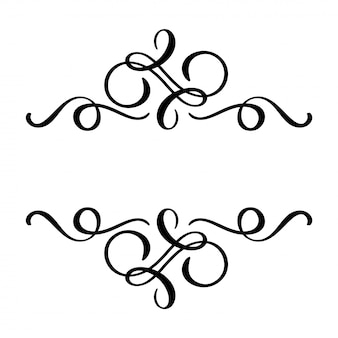 Floral calligraphy element flourish, hand drawn divider for page decoration