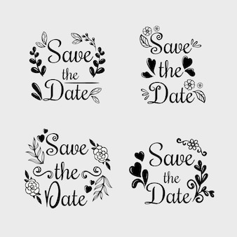 Floral calligraphy with save the date wedding text