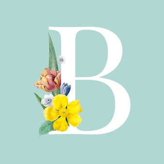 Floral capital letter b alphabet vector