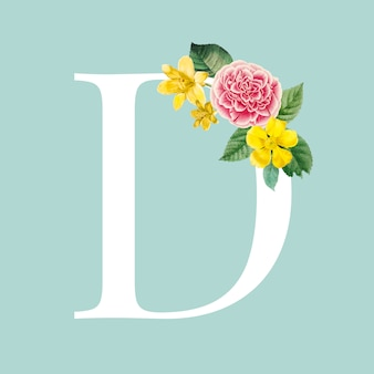 Floral capital letter d alphabet vector