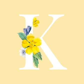 Floral capital letter k alphabet vector