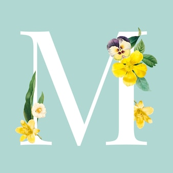 Floral capital letter m alphabet vector