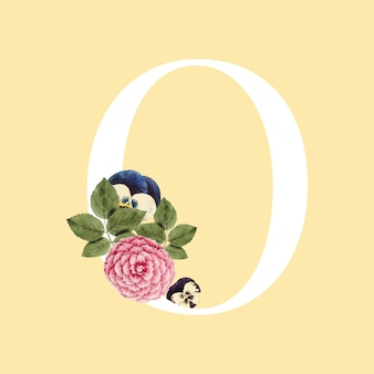 Floral capital letter o alphabet vector