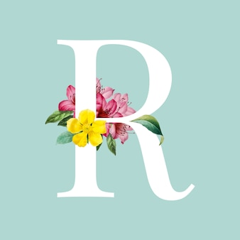Floral capital letter r alphabet vector