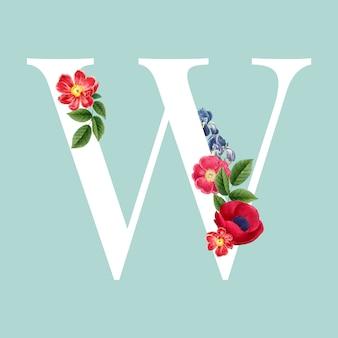 Floral capital letter w alphabet vector