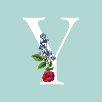 Floral capital letter y alphabet vector