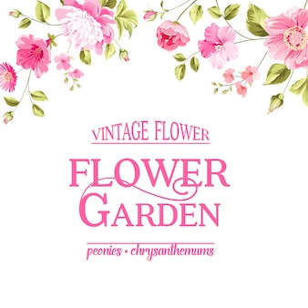 Floral card. blooming garden