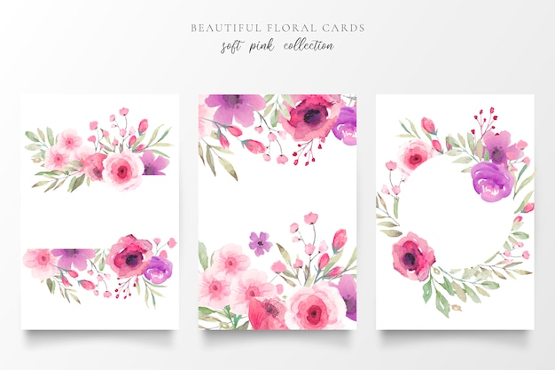 Floral card collection with watercolor flowers