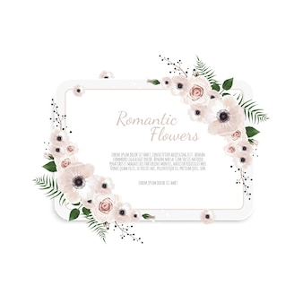 Floral card. greeting, postcard wedding invite template.