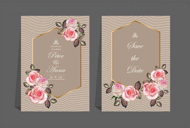 Floral card for invitation wedding and greeting cards
