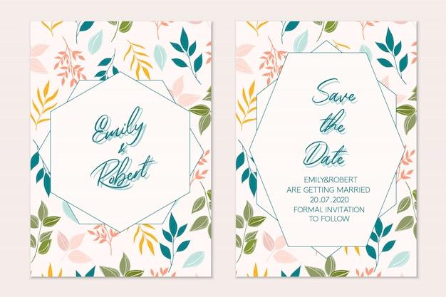 꽃 카드 세트입니다. 식물 카드. 결혼식 초대장
