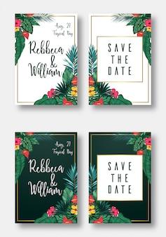 Набор цветочных открыток свадебные приглашения, сохранить дату и рамку
