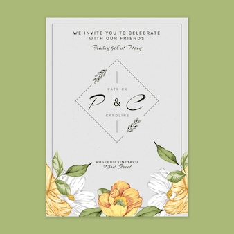 Floral card template for wedding